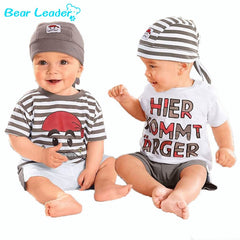 Bear Leader Babys Set  2018 New Summer Letter Baby  Boy Suit Set 3Pieces Hat T-Shirt Pants Summer Outfit For Toddler Vestidos