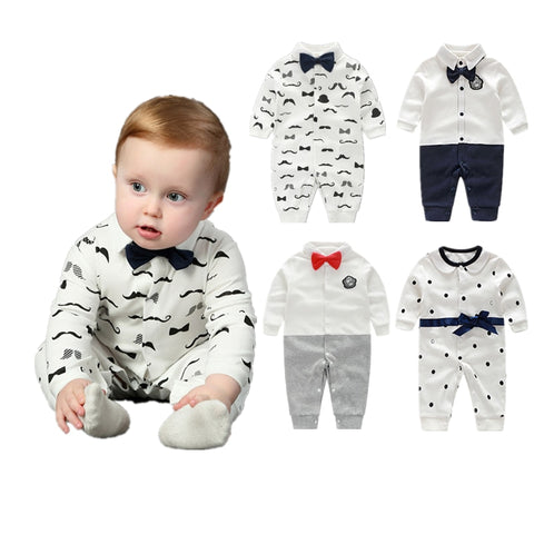 Baby Boy Clothes Bowknot New Born Baby Rompers Cotton Long Sleeve Infant Baby Boy Clothing Set Gentle Style vestido infantil