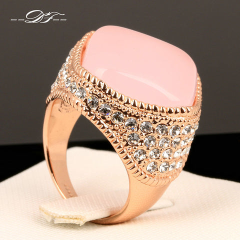 Luxury Large Pink Opal Finger Rings Rose Gold Zirconia