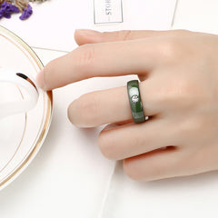 New Exquisite Big Crystal Ceramic Ring