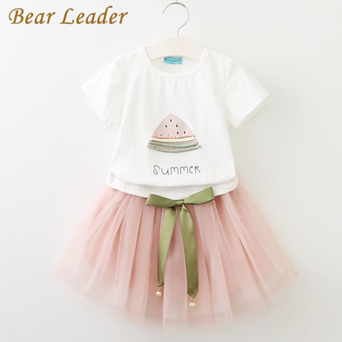 Bear Leader Girls Clothes 2018, Brand Girls Clothing Sets Kids Clothes, Cartoon Cat Children Clothing, Toddler Girl Tops+Skirt 2-6 Y