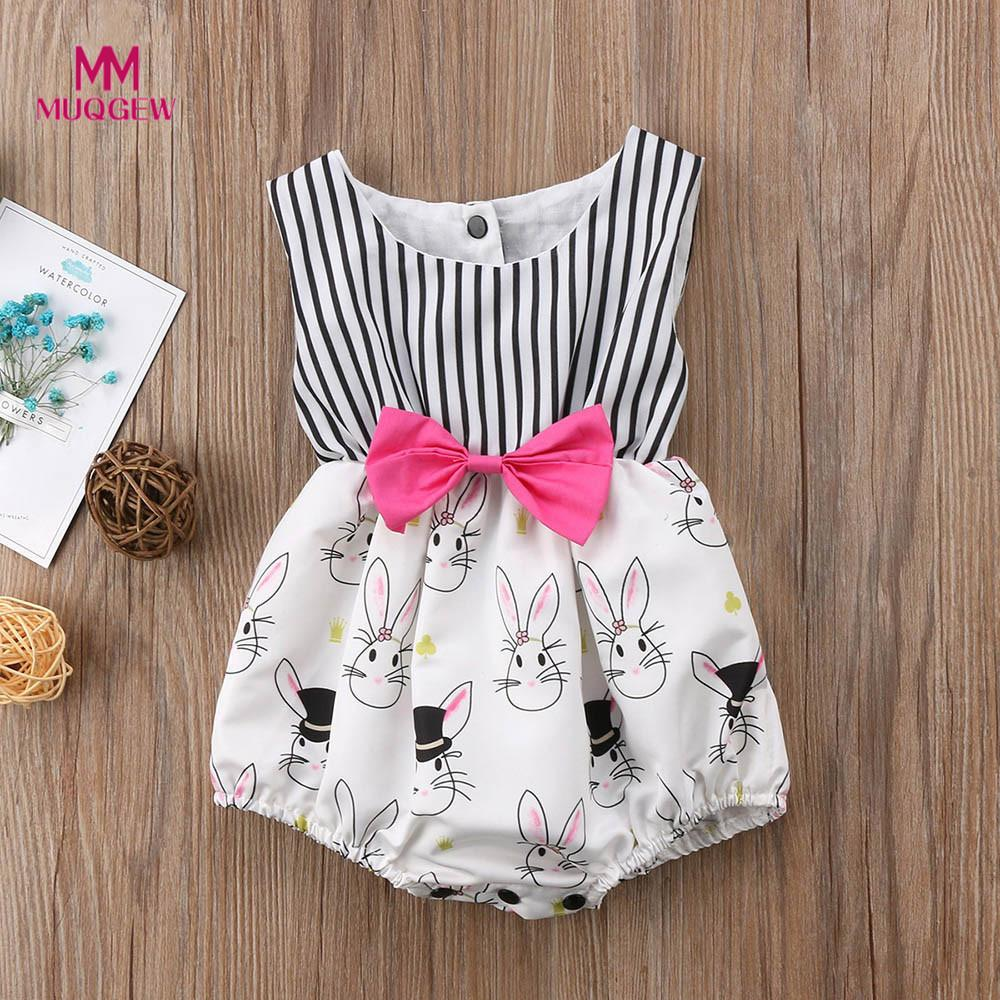 baby rompers Jumpsuit  Girls Easter Rabbit Print Striped O-Neck White color Jumpsuit summer animal Outfits new born baby clothes