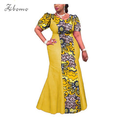 Wax fabric prints banquet maxi