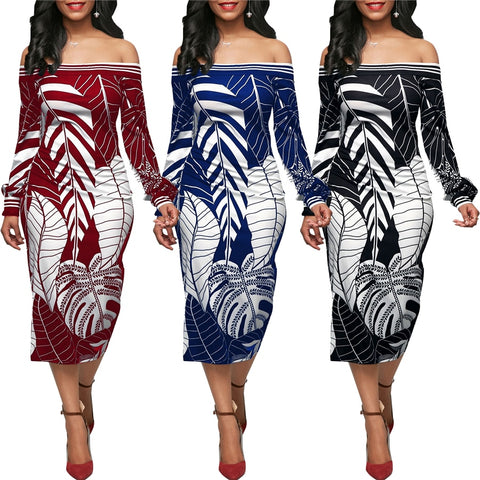 One-shoulder leaf print long-sleeved dress
