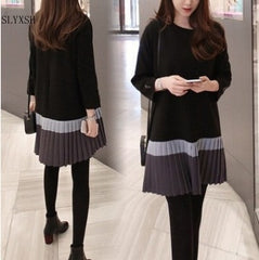 long sleeve dress contrast color