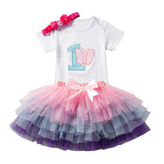 ARLONEET  3Pcs Baby Girls Birthday Cartoon Print Tutu Skirts+Jumpsuit+Headband Set Outfits New Born Baby Clothes Boy S#