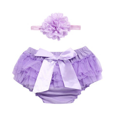 Baby Infant Girls lace Bowknot Chiffon Panties Briefs Diaper Cover Pants