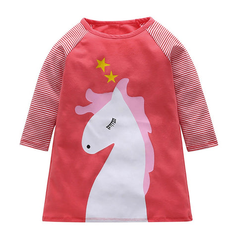 Baby Girls Infant Kids Cartoon Clothes Horse Stripe Dress Casual Dresses