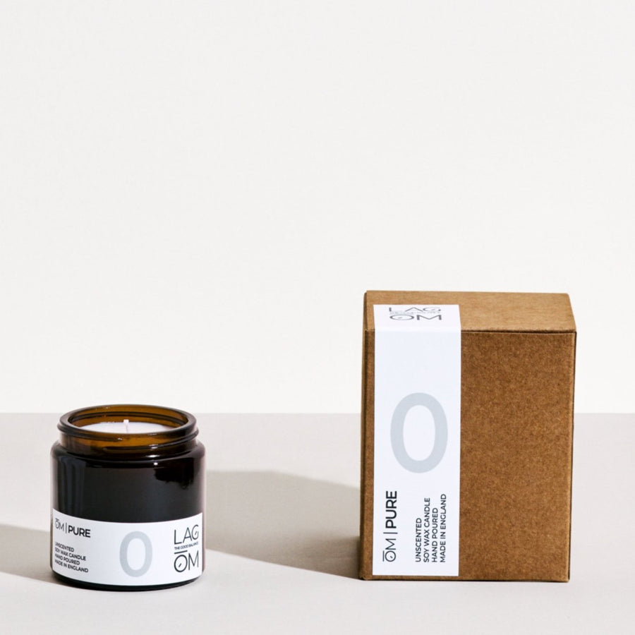 00. ŌM  PURE // (UNSCENTED) 120ML HAND POURED SOY WAX CANDLE