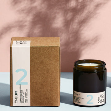 02. ŌM  LIFT // GERANIUM + GRAPEFRUIT  170ML AMBER CANDLE