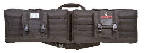 3-Gun Case, Blk 3-Gun Case, Blk 4556 3-Gun Case Rugged ballistic pack cloth construction Heavy-duty lockable zippers, two adjustable outside accessory pouches Large dual handgun/accessory pouch with individual hook and loop enclosed handgun storage areas an