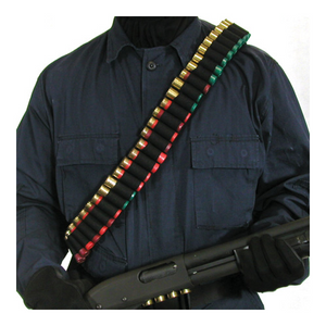 Shotgun Bandoleer (Holds 55)  Shotgun Bandoleer (Holds 55) Black, Over the shoulder design, Carries 55 shotgun shells, Made of heavy-duty nylon-2.25  military pistol belt webbing, 1.5  wide heavy-duty elastic holds the shells securely