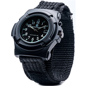 Lawman Watch - Electronic Back Glow, Nylon Strap, Black face