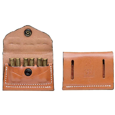 2 X 2 X 2 CARTRIDGE POUCH  Color: B Fit: A MOST .38/357 LEATHER W/ SNAP FLAP WITH BELT SLOTS