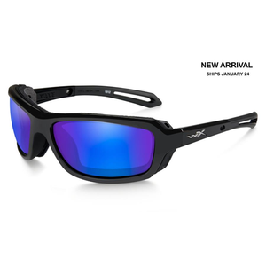 Wiley X WX Wave Sunglasses Gloss Black Frame Polarized Blue Mirror Lens