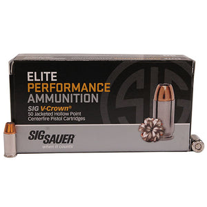 Sig Sauer 380AUTO, 90GR, ELITE V-CROWN, JHP, BOX/50