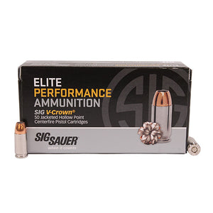 Sig Sauer 9MM, 124GR, ELITE V-CROWN, JHP, BOX/50