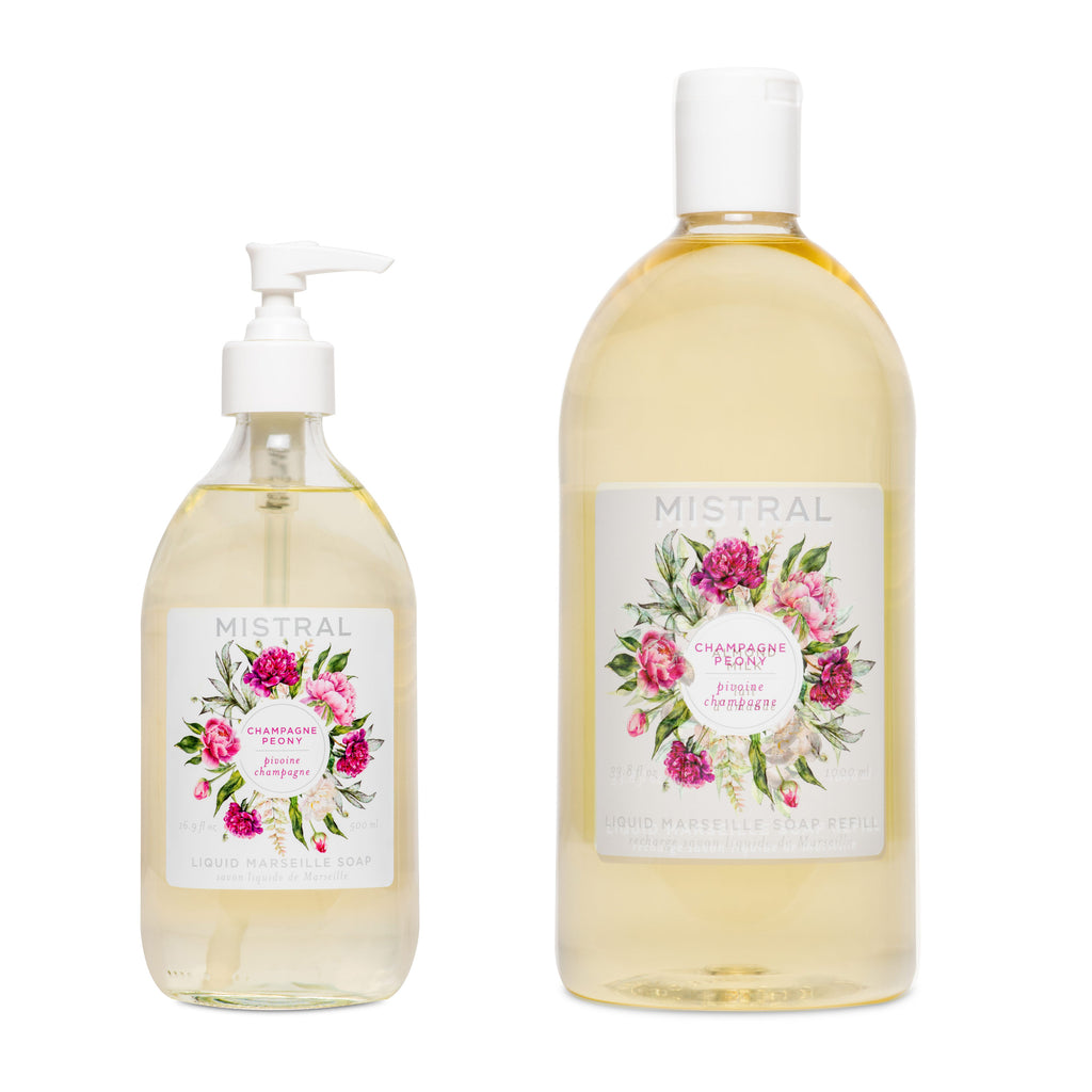 Champagne Peony Liquid Marseille Soap Bundle