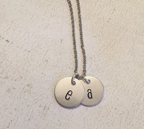 Initial necklace - Hand stamped jewelry