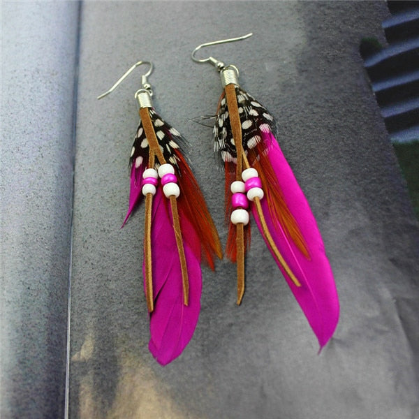 Bohemian Long  Feather Earrings