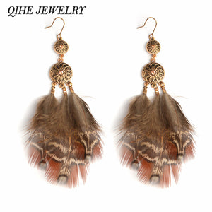 QIHE JEWELRY - Gypsy Hippie Long Brown Feather Earrings