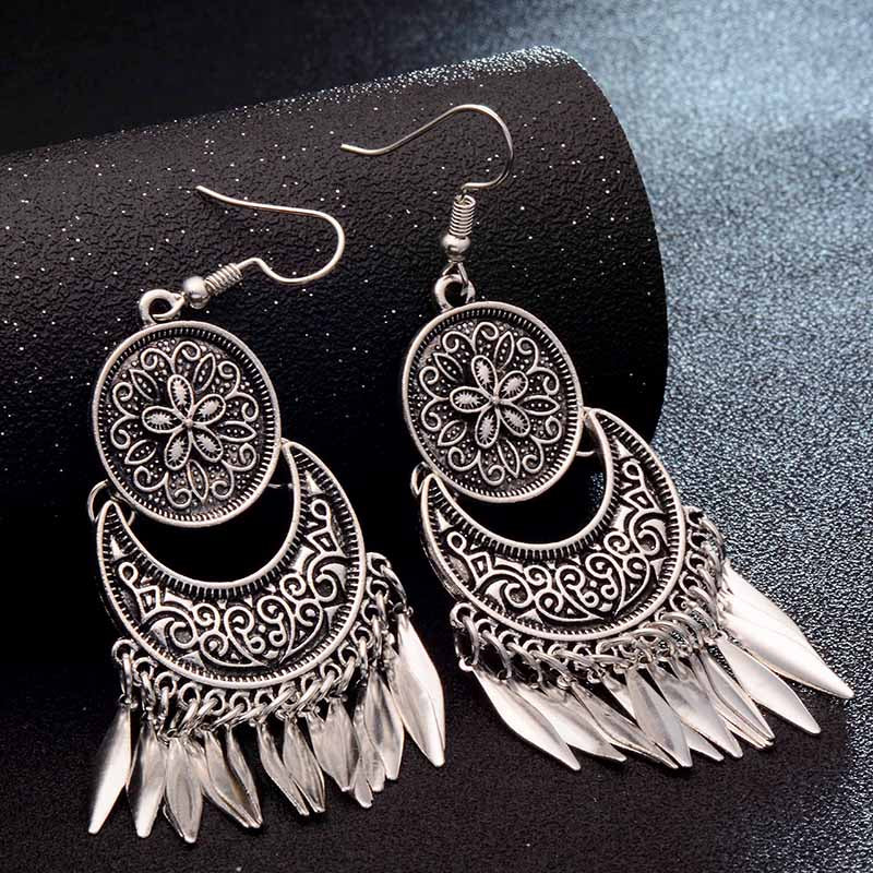 Dream Catcher Hollow out Vintage Leaf Feather Dangle Earrings