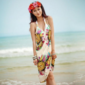 Lady Chiffon Bikini Dress Cover Up with Spaghetti Straps