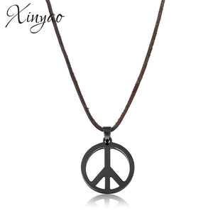 XINYAO Black Stainless Steel Titanio Peace Necklace
