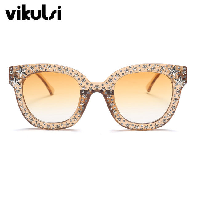 VIKULSI Luxury Italian Brand Crystal Square Sunglasses