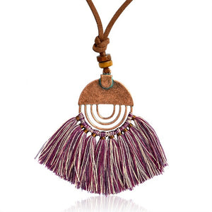 JEWELRY / Multi Colors Tassel Pendant Bronze Leather Chain Necklace