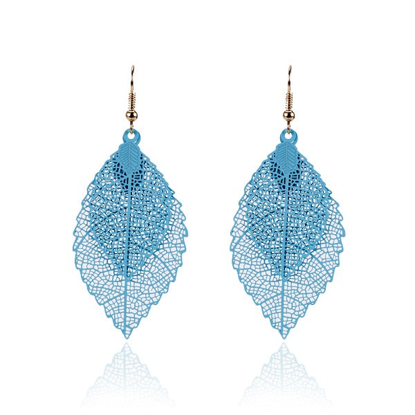 Fashion Luxury Boho Double Color Leaf Dangle Earrings