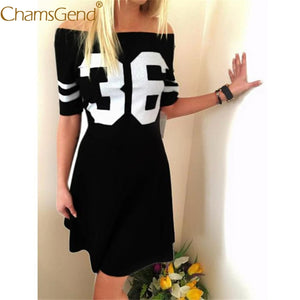 Newly Design Women Casual Number 36 Striped Sleeve Off-Shoulder Mini Dress