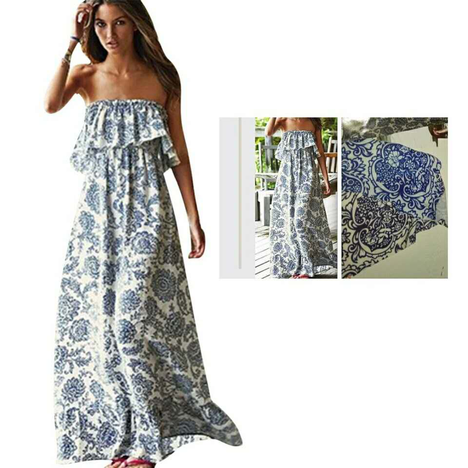 New Lady Summer Strapless Printed Bandeau Cocktail Party Dress