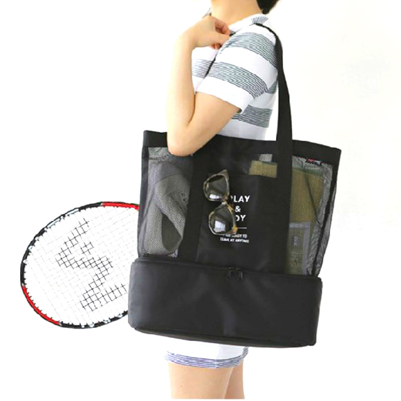 Hige Quality Nylon Transparent Beach with Insulated Bottom / Large Capacity Double Floor / Top-Shoulder Bag / Travel Portable