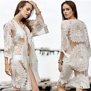Baodilang Pareo Beach Cover Up / Floral Embroidery