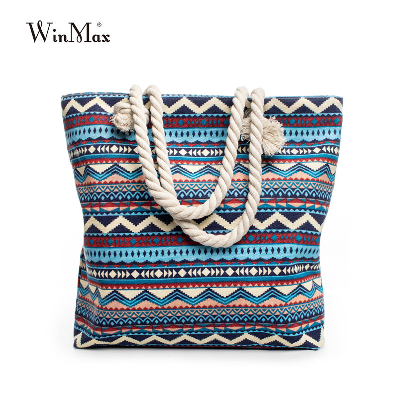 New Summer Canvas Bohemian Style Striped Shoulder Beach Bag