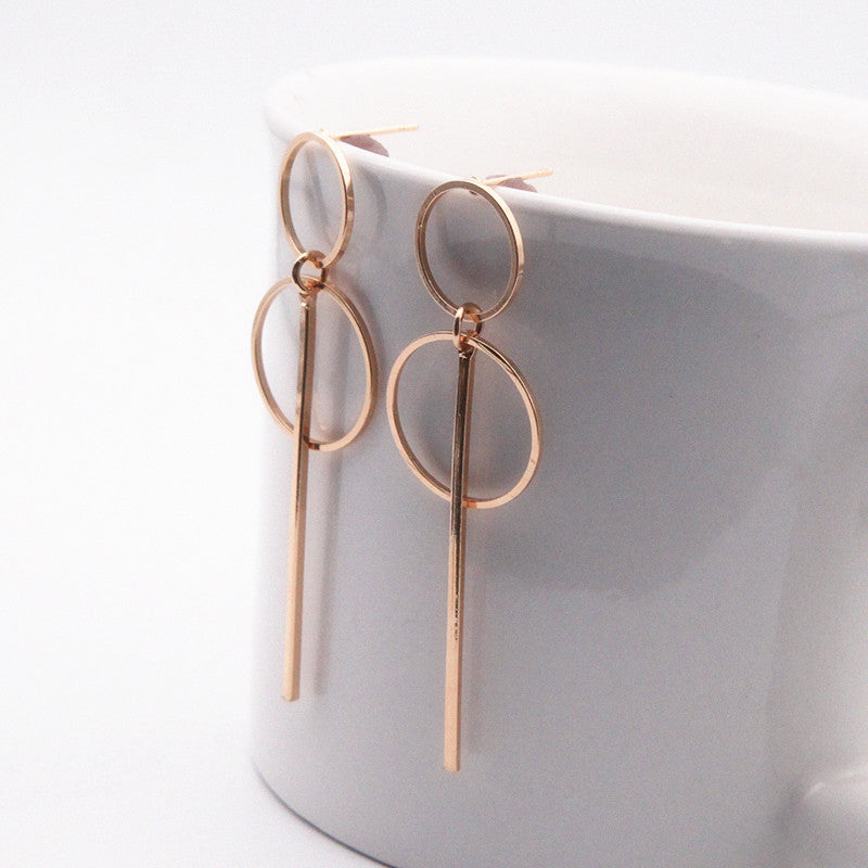 Punk Simple Gold/ Silver / Long Section Circle Earrings