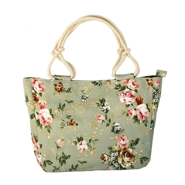 Ladies Casual Flower Print Canvas Graffiti Shoulder Bag