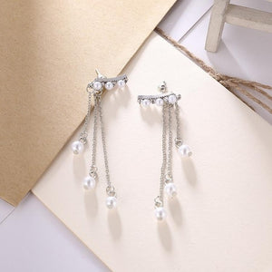 Long Pearl Tassel Earrings