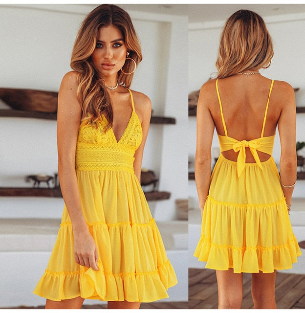 Summer Backless V-Neck Lace Beach Dress