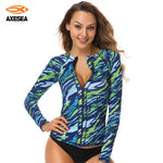AXESEA Brand - Women's Rashguard -  Long Sleeve - Sun Protection - Front Zipper  UPF50