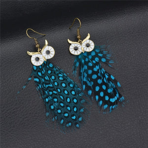 Vintage Owl Drop Bohemian Earrings