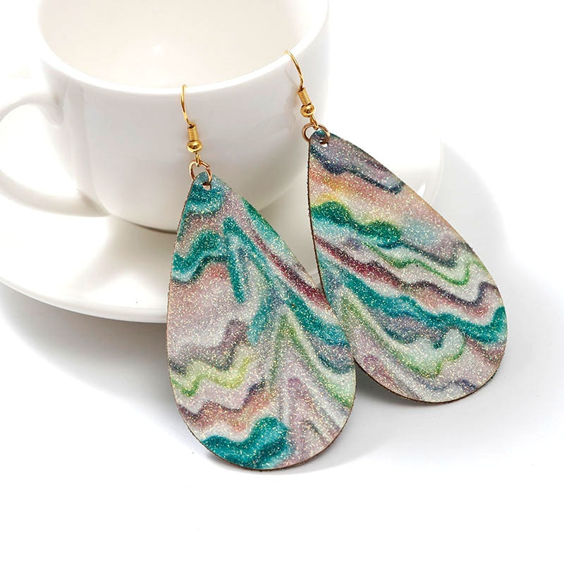 Glitter Rainbow Leather Teardrop Earrings