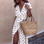 Women Boho Polka Dot Summer Beach Long Dress
