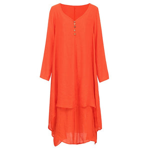 Vintage Women Casual Long Loose Dress
