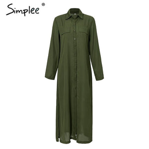 Simplee Casual button down long summer dress shirt