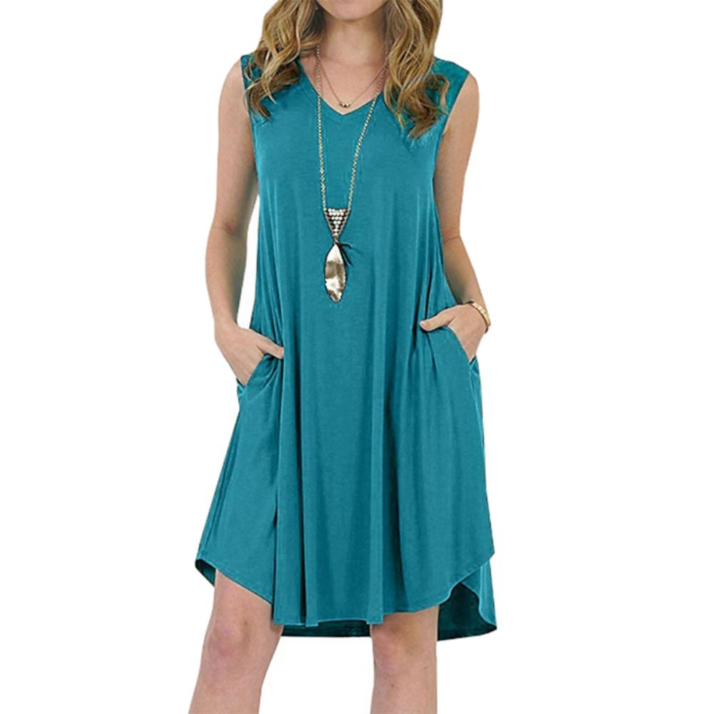 Solid Color Sleeveless Sundress with Pockets