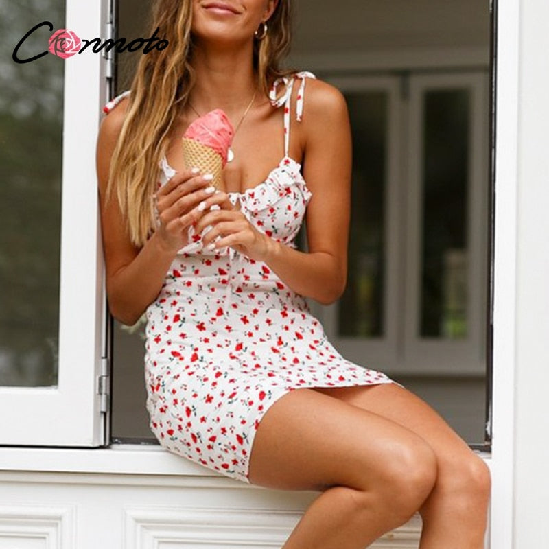 Conmoto Casual Floral Print Short Dress