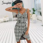 Simplee Plaid Strap Double Breasted Casual Dress
