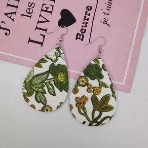 Leather Leaf Teardrop Earrings